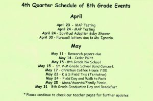4th Qtr. Schedule of 8th Grade Events